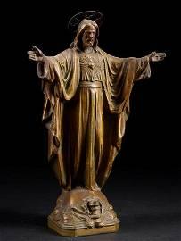 Impressive vintage devotional statue of Jesus. Metal