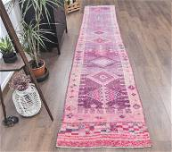 3x14 Vintage Turkish HAND-KNOTTED Runner, Oushak