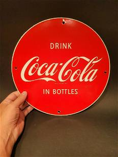 """Enamelware Cast Iron Round Red """"Coca Cola"""" Sign"""