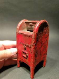 Red US Mail Box Cast Iron Coin Bank