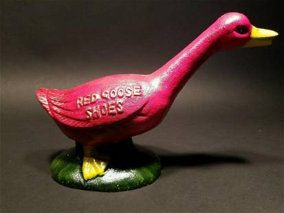 Cast Iron Red Goose Shoes Coin Bank
