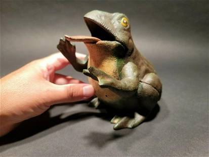 Cast Iron Frog Mechanical Coin Bank