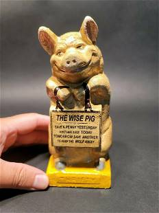 Cast Iron Thrifty Coin Bank The Wise Pig