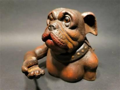 Cast Iron Bulldog Mechanical Dog Coin Bank John Harper