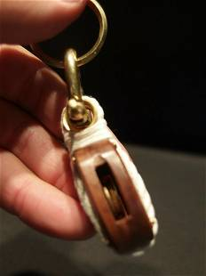 Wood Brass Nautical Sailing Pulley Boat Ship Keychain