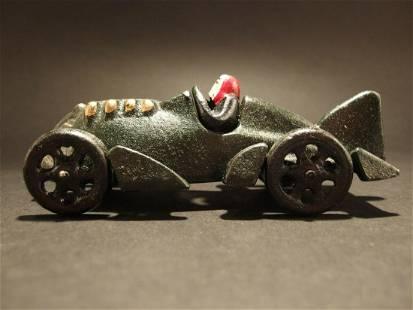 Cast Iron Toy Race Car Dark Green