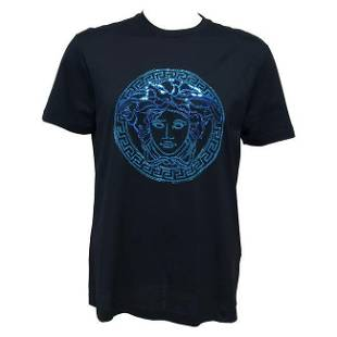 VERSACE BLACK T-SHIRT BEADED with BLUE SEQUIN