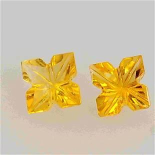 1.6 Carat Yellow Square Citrine Loose Gemstone 2 Pieces