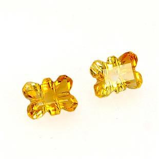1.8 Ct Yellow Octagon Citrine Loose Gemstone 2 Pieces