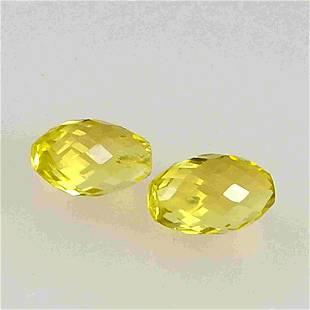 8.2 Carat Yellow Lemon Quartz Loose Gemstone 2 Pieces