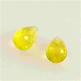4.5 Carat Yellow Lemon Quartz Loose Gemstone 2 Pieces