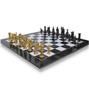 Luxury exclusive chess set Roman design metal boxwood