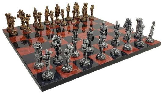 Exclusive luxury chess set medieval design metal marble