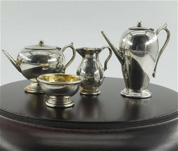 Dollhouse miniatures silver coffee set bowl creamer