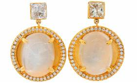 Vintage 14k Yellow Gold Dangle Drop EARRINGS Moonstone