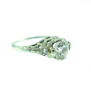 VINTAGE Platinum & Cushion Cut Diamond Ring Circa 1920s