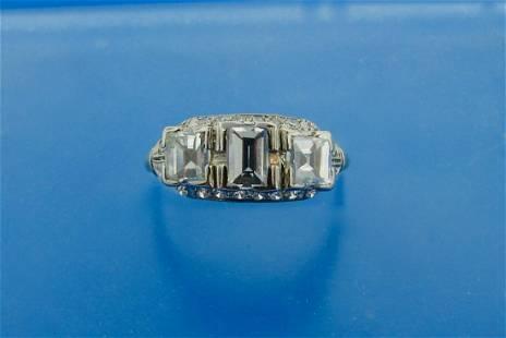 Deco Three Stone Step Cut and Emerald Cut Diamond