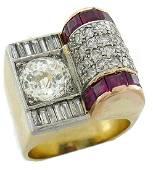 Jubilee Cut Diamond Ruby Gold Retro RING