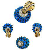 Turquoise Diamond Ruby Gold RING EARRINGS Pin BROOCH