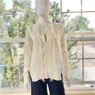 Helmut Lang 100% Silk Blouse with Feather