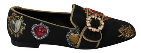 Dolce & Gabbana Black Amore Heart Crystal Loafers Shoes
