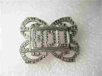 Vintage Art Deco Marcasite Initial Brooch - MDU -