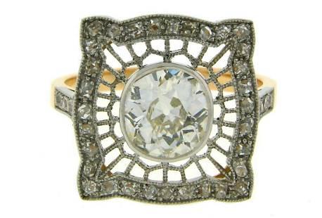 Edwardian Revival Diamond RING 1.92 cts DTW Platinum