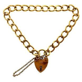 VICTORIAN 9k Rose Gold Heart Charm & Curb Link Bracelet