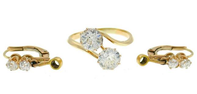 Victorian Diamond Gold RING Earrings Interchangeable