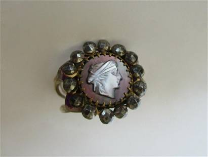 Antique Victorian Cut Steel & Sterling Silver
