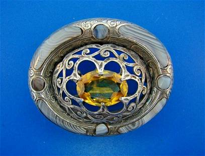 COOL Scottish Silver, Agate & Citrine Brooch