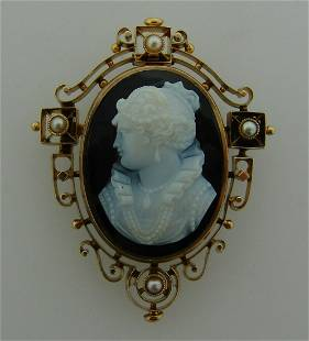 Agate Cameo Pearl Gold PIN BROOCH PENDANT Victorian
