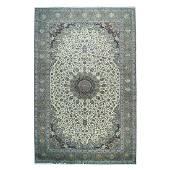 Oversize Persian Kashan Wool and Silk Flowers Sheikh