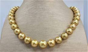 Large 10x13.5mm 24K Golden Saturation South Sea Pearls