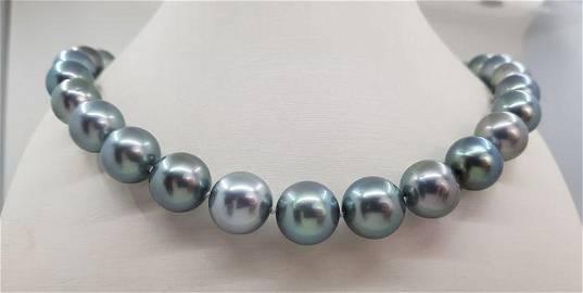 12x14.5mm Silvery Aquamarine Tahitian Pearls White gold