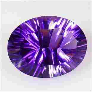 20.21 Ctw Natural Purple Amethyst Concave Cut