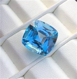 19.45 carats step cushion Swiss blue topaz gemstone