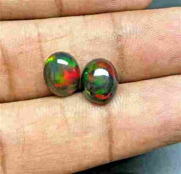 Pair of Natural Black Opal (2 Stones) 1.20tcw Oval