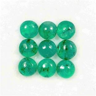Lot of 9 Natural Cabuchon Cut Emeralds