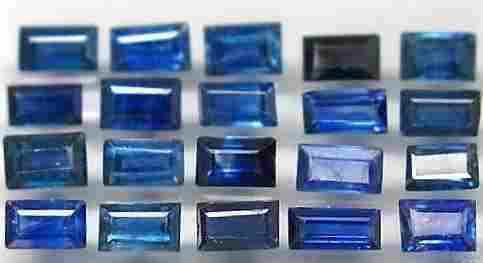 Lot of 20 Natural Baguette Blue Sapphire