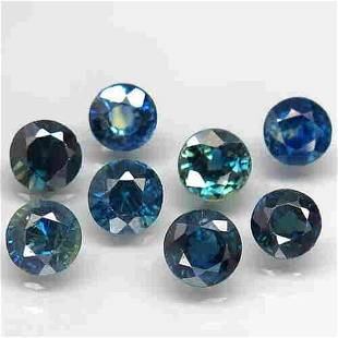 Lot of 8 Natural Blue Green Sapphire Round Cut