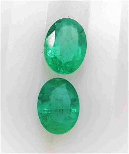 Pair of Natural Emerald Oval Shape