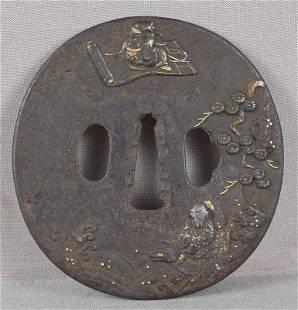 18c Japanese sword tsuba Bushishi & Roko SENNINS