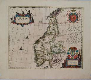 1659 Blaeu Map of Norway -- Norvegia Regnum, vulgo