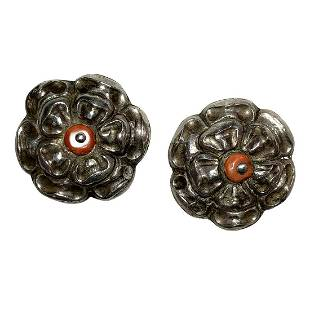 Chinese Flower Bud 900 Silver Pins with Red Coral Bead