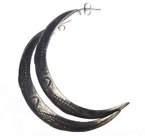 Sterling Silver Tribal Etched Half Hoop Stamped