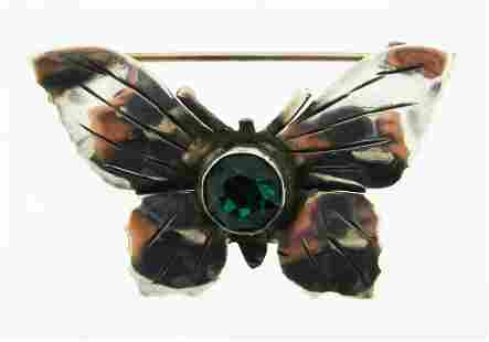 WHIMSICAL Hobe Sterling Silver & Green Stone Butterfly