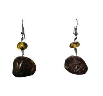 Mexican Chiapas Amber Bead Drop Earrings