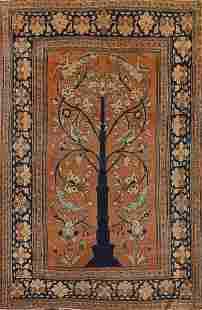 Pre-1900 Antique Vegetable Dye Tabriz Haj Jalili