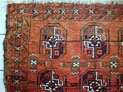 Handmade Antique Afghan Baluch Rug 3' X 5' ( 92cm X